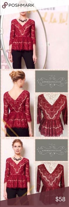 ✨NWOT✨ Anthropologie Needle point lace Blouse ✨New without tags✨ Perfect for the holidays this Gorgeous red wine needlepoint lace plunge v neck blouse from Anthropologie. This peplum top is so flattering on the waistline and goes great even with the most difficult bottoms like leather pants. Size small fits true to size. 14 inch waist, 16 inch bust armpit to armpit, 24 inch length shoulder to bottom hem. Comes with a nude colored lining and so you do not need to purchase any slip/ cami to go…