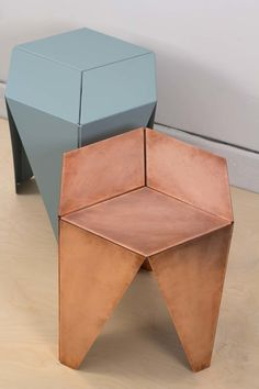 This versatile piece from design studio Desert Alchemy can be used as a side table or a stool. It will soon be available in copper plate and powder coated finishes.