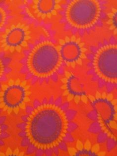 60s amazing floral vintage fabric with a lovely retro by Inspiria, $23.00
