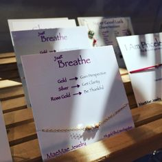 """Beautiful light coming through onto our MaeMae Jewelry this morning. Must be a kind reminder to """"just breathe."""" #maemaejewelry #justbreathe #qotd #burbank #mindfulnest #inspirationjewelry"""