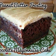 CHOCOLATE MAYO CAKE WITH PEANUT BUTTER FROSTING @keyingredient #cake #peanutbutter #chocolate