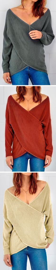 $19.99 for Winter must-have & Free Shipping! Soft, long sleeve lightweight top with cross front, V neckline. This sweater fits slightly loose. Wear it over your leggings and with your boots for a pretty look with low effort!