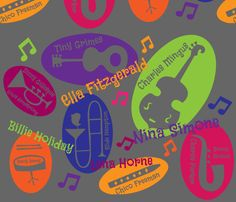Colorful personalities of Jazz fabric by kfrogb on Spoonflower - custom fabric Fabric design made for Jazz fabric design contest. Featuring musical instruments, names of jazz artists like Ella Fitzgerald, Billie Holiday, Chico Freeman, Tiny Grimes, Dizzy Gillespie, Louis Armstrong, Slide Hampton, Charlie Parker, Sonny Rollins, and Charles Mingus.