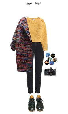 """lay"" by julietteisinthe80s on Polyvore featuring Topshop, H&M, Dr. Martens and Nikon"
