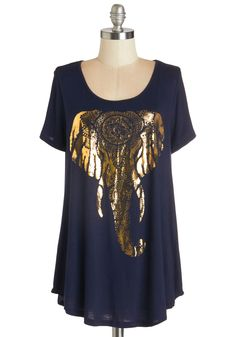 Tusk 'til Dawn Top. Its as if you can hear trumpets announcing your arrival all day long when you wear this navy top! #blue #modcloth