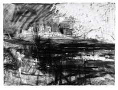 From another pinner who gives no info. Harlech Castle perhaps? Landscape Drawings, Abstract Landscape, Landscape Paintings, Graphite Art, Abstract Geometric Art, Charcoal Drawing, Charcoal Art, Artist Sketchbook, Inspirational Artwork