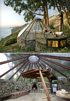 Rock and glass ceiling observation room perfect for a back yard with fireplace and hanging platform bed