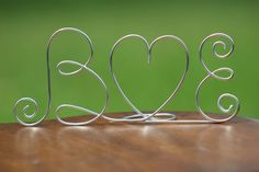 Silver Wire Initials Cake Topper - Decoration - Beach wedding - Bridal Shower - Bride and Groom - Rustic Country Chic Wedding