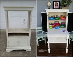 How to make a kids art desk out of an old armoire. This art desk has a unique fold down desk with lots of storage for all the needed art supplies.