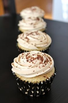 "White Russian Cupcakes with Kahlua Buttercream ::  ""The cupcake is made with both vodka and Kahlua and is then topped with a Kahlua buttercream. I served them on NYE and they were a huge hit. I am going to be honest with you, you could have put the buttercream on a shoe and I would have told you it was delicious. The cupcake was tasty on its own but..."" #recipe"