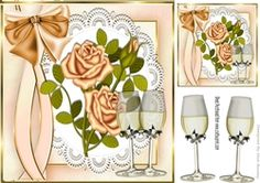 Gold roses  on lace with champagne for Anniversary 8x8 on Craftsuprint - View Now!
