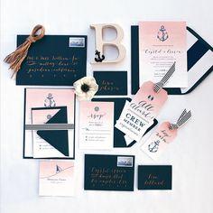 Photo: Troy Grover Photographers; Blush Nautical Wedding Invitations