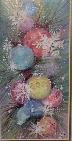 #1312 60s Lovely Pastel Tree Ornaments-Vintage Christmas Card-Greeting