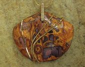 Polymer Clay Jewelry Pendant  with Gold  plated Necklace. $125.00, via Etsy.