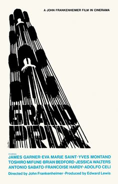 "modernizor: "" Grand Prix film poster / Illustration by Saul Bass "" Grand Prix, Milton Glaser, Cinema Posters, Film Posters, Sports Posters, Concert Posters, Vintage Movies, Vintage Posters, Vintage Graphic"