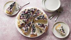 Blueberry and lavender scone pizza recipe - BBC Food Lavender Scones, Lemon Scones, Blueberry Scones, Blueberry Recipes, Strawberry Recipes, Pizza Recipes, Baking Recipes, Bbc Recipes, Yummy Recipes