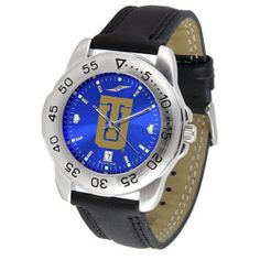 """Tulsa Golden Hurricanes NCAA AnoChrome """"Sport"""" Mens Watch (Leather Band) by SunTime. $53.10. Scratch Resistant Face. Calendar Date Function. Rotation Bezel/Timer. This handsome, eye-catching watch comes with a genuine leather strap. A date calendar function plus a rotating bezel/timer circles the scratch-resistant crystal. Sport the bold, colorful, high quality logo with pride. The AnoChrome dial option increases the visual impact of any watch with a stunning radial reflection s..."""
