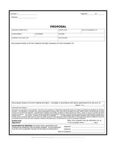 Printable Blank Bid Proposal Forms  Construction Proposal Bid