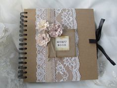 Vintage Style Kraft Wedding Guest Book | Guest Books, Chests ...