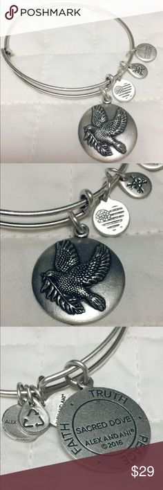Alex & Ani Sacred Dove Bangle In perfect condition. Silver finish.                                                                    Recognized worldwide as a symbol for faith, peace, and truth; the Dove is a consoling reminder of new beginnings when you need it the most.                                                       Thank you for looking!!!! Alex & Ani Jewelry Bracelets