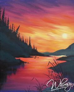 RezClick - Whimsy Paint and Sip - Northfield: Calendar Wine Painting, Acrylic Painting Lessons, Autumn Painting, Wine And Paint Night, Abstract Pictures, Silhouette Painting, Aesthetic Painting, Paint And Sip, Sky Art