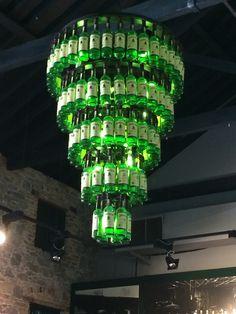 Jameson whiskey bottle chandelier, heck yes!!