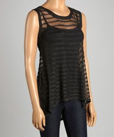 Look what I found on #zulily! Black Sheer Ribbed Hi-Low Tank by Design 26 #zulilyfinds