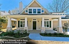Storybook Bungalow House Plan built in Texas from our house plans. - House Plans, Home Plan Designs, Floor Plans and Blueprints Bungalow House Plans, Craftsman House Plans, House Floor Plans, Craftsman Style, Craftsman Cottage, Craftsman Kitchen, Porch Flooring, Open Concept Floor Plans, Craftsman Bungalows