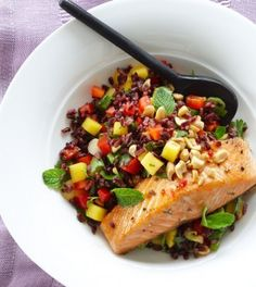 Thai Black Rice Salad with Wild Salmon - Clean Eating ~ Black Forbidden rice gets its name from ancient China, where the dark-hued grain was banned from commoners and reserved strictly for royalty and nobility. Today, it can be found in local markets and ethnic grocery stores, and is commonly used in Thai cooking.