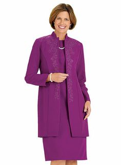 Mandarin Collar Embroidered Jacket Dress with FREE Necklace! at www.amerimark.com