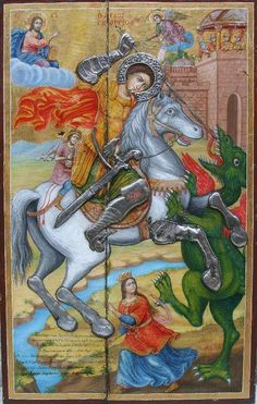 Medieval Dragon, Medieval Art, Byzantine Art, Byzantine Icons, Religious Paintings, Religious Art, Hl Georg, Saint George And The Dragon, Dragon History