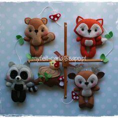 Mobile animaux de la forêt, berceau mobile pour berceaux, coffret cadeaux naissance