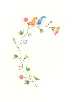 """Little Orange Bird and Little Blue Bird on Flowers"" −RiLi, picture book, illustration, design ___ ""花の上の橙色と青色の小鳥"" −リリ, 絵本, イラスト, デザイン ...... #illustration #bird #orange #blue #flower #イラスト #鳥 #青 #花"