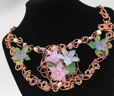 Lucite Flower, Pearl and Czech Crystal Wire Knitted Statement Necklace | KathsElegantAccessories - Jewelry on ArtFire