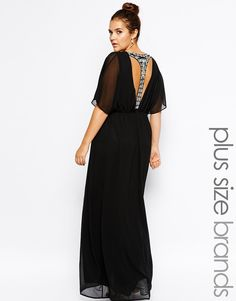 Club L Plus Size Maxi Dress with Embellished T Bar