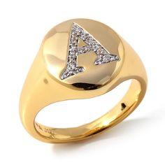 Jewels by Jen CZ Goldtone Pavé Signet Pinky Ring
