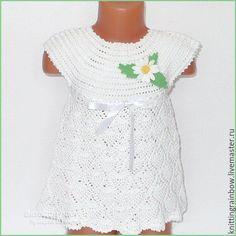 Купить Платье - сарафан и повязочка для девочки - белый, однотонный, детская одежда, вязаная одежда