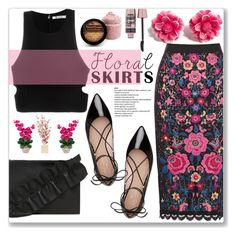 """Floral Skirt"" by cowseatchard ❤ liked on Polyvore featuring T By Alexander Wang, Kate Spade, MSGM, Tarina Tarantino and Maybelline"