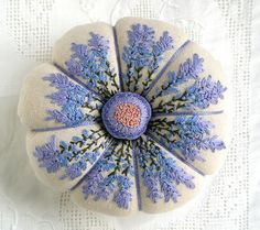 I ❤ pincushions . . . Lavender on Linen- Each time I create these lavender blooms I am drawn to different colors of blue violets and soft purples. I can't help but love the organic shapes of these pretty flowers. ~By Fiberluscious