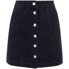 Petite Black Button Front Denim Mini Skirt ($23) ❤ liked on Polyvore featuring skirts, mini skirts, bottoms, denim miniskirts, short denim skirt, button-front skirts and button front denim skirt
