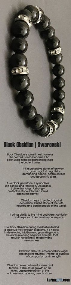 "#BEADED #Yoga #BRACELETS ♛ #Black #Obsidian is sometimes known as the ""#wizard stone"", because it has been used in #magical practices since the ancient times. #swarovski #Chakra #gifts #Macrame #Stretch #Womens #jewelry #Tony #Robbins #Eckhart #Tolle #Cry"