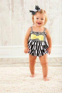 Mud Pie Baby-Girls Infant Striped Swimsuit, Black/White/Yellow, 12 Months Mud Pie