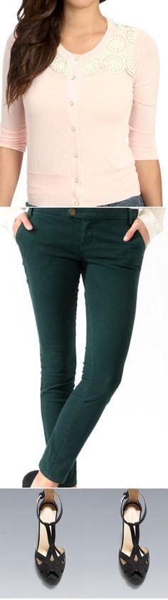 Wet Seal: Crochet Yoke Cardigan, Forever21: Life In Progress™ Tab Waist Skinny Jeans, Zara: HIGH-HEEL T-BAR SANDAL