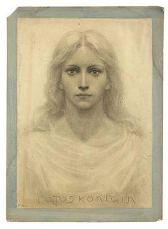 "Fidus (Luebeck 1868-1948 Woltersdorf bei Berlin), also known as Hugo Hoeppener  ""The Lotus Queen"" (""Lotos Königin"")  1890"