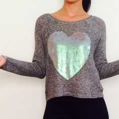 PINK SEQUENCE HEART TOP Cute top. Great condition. Size small. PINK Victoria's Secret Tops Tees - Long Sleeve