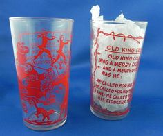 Red Swanky Swig Glasses 2 Old King Cole vintage by OhSoEnchanting, $12.00