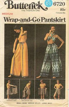 Butterick 6720 Misses Wrap-And-Go Pantskirt & Scarf Halter Top Sewing Pattern, Sizes Medium, UNCUT by DawnsDesignBoutique on Etsy Wrap Pants, Skirt Pants, 70s Inspired Fashion, Scarf Top, Vintage Dress Patterns, Pants Pattern, Vintage Outfits, Vintage Clothing, Vintage Fashion