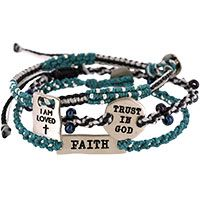 Wakami Trust Faith Love Woven Bracelets - Set of 3 at Hope Faith Love. 24 cups of food goes to the hungry when you buy this and buy more jewelry at roxann7-.kitsylane.com and up to 25% of my commission goes to feed the hungry children in Africa for Compassion.