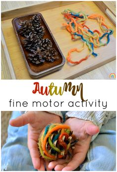Use pine cones and Autumn coloured wool to create a fine motor activity