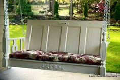 Brilliant Repurposing Ideas for Your Home Improvement Porch swing made from repurposed/upcycled furniture and door.Porch swing made from repurposed/upcycled furniture and door. Porche Shabby Chic, Shabby Chic Veranda, Shabby Chic Porch, Repurposed Items, Repurposed Furniture, Repurposed Doors, Furniture Ideas, Garden Furniture, Lane Furniture